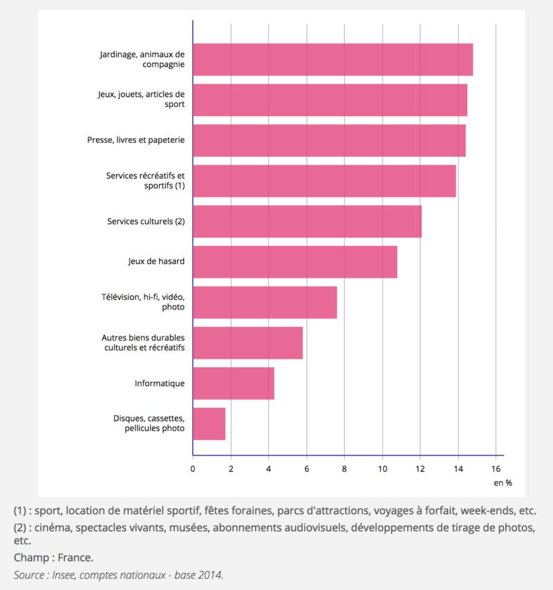Dépenses culturelles et de loisirs en 2018 (graphique)