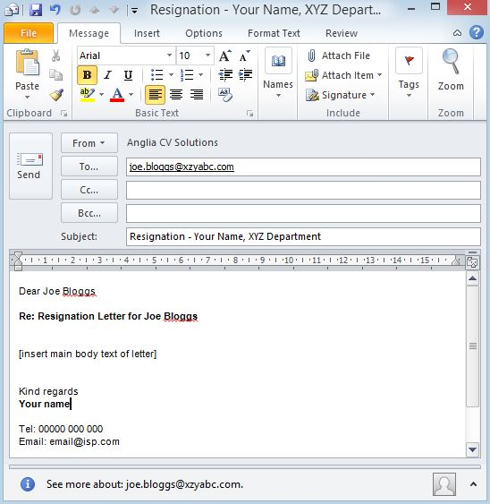 Screenshot Email Resignation Example  Uk Professional Cv Writing