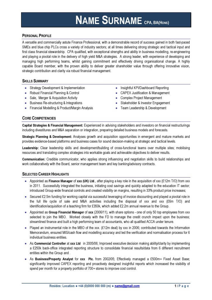 professional cv format uk