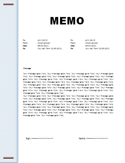 Memo Template  Professional Word Templates