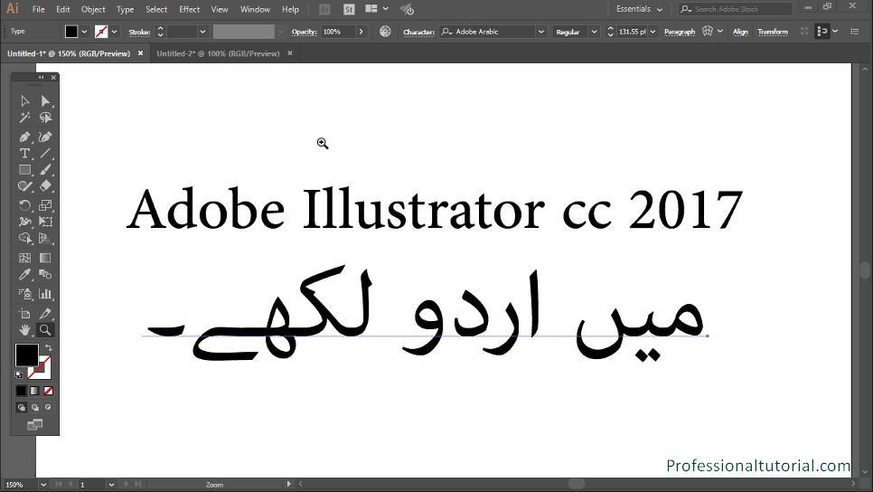 How to Write Urdu Arabic Persian in Adobe Illustrator CC?