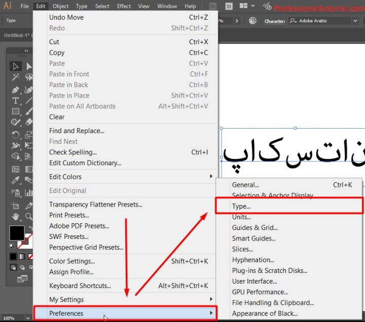 How to Write Urdu Arabic Persian in Adobe Illustrator CC?