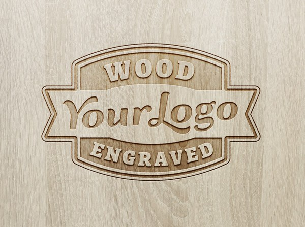Wood Engraved Logo Lockup - 3d logo MOCKUPS
