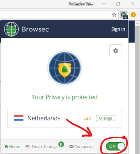 Browsec VPN Activated