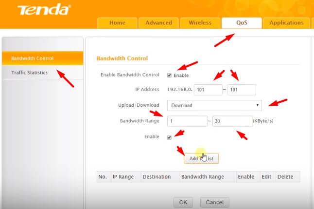 Bandwidth Tenda