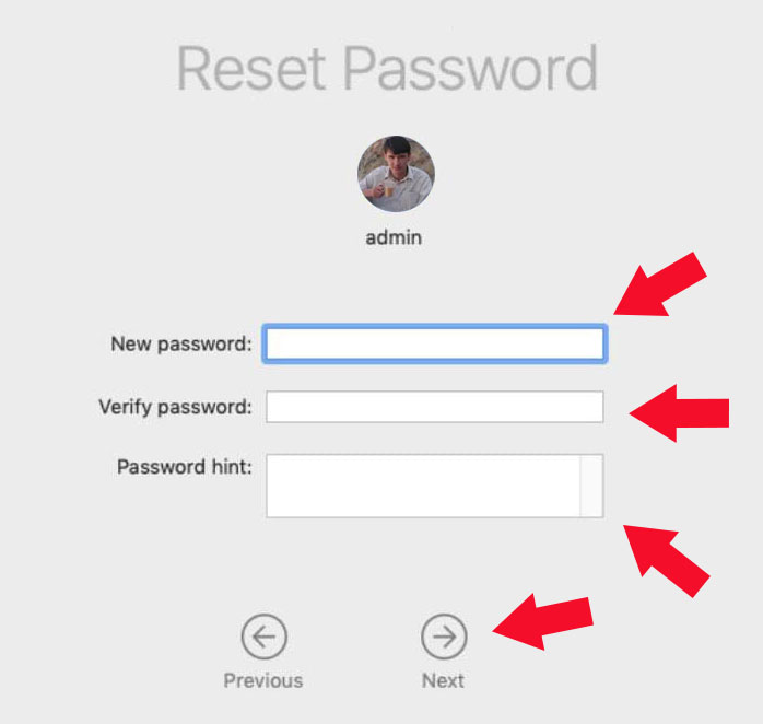 Reset Password on mac