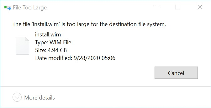 wim file too big