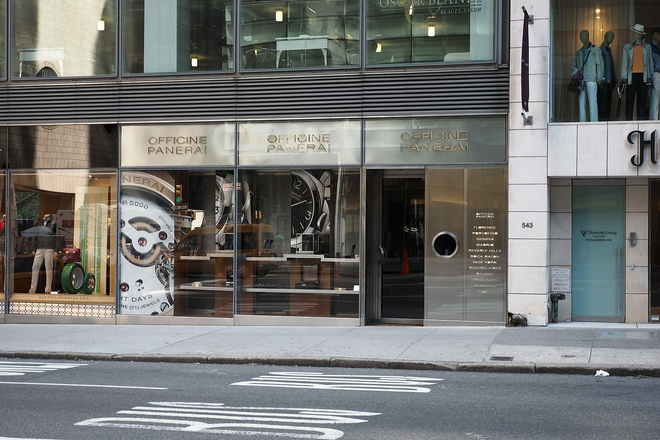 The Officine Panerai flagship store is located between 54th and 55th streets on Madison Avenue. (545 Madison Ave)
