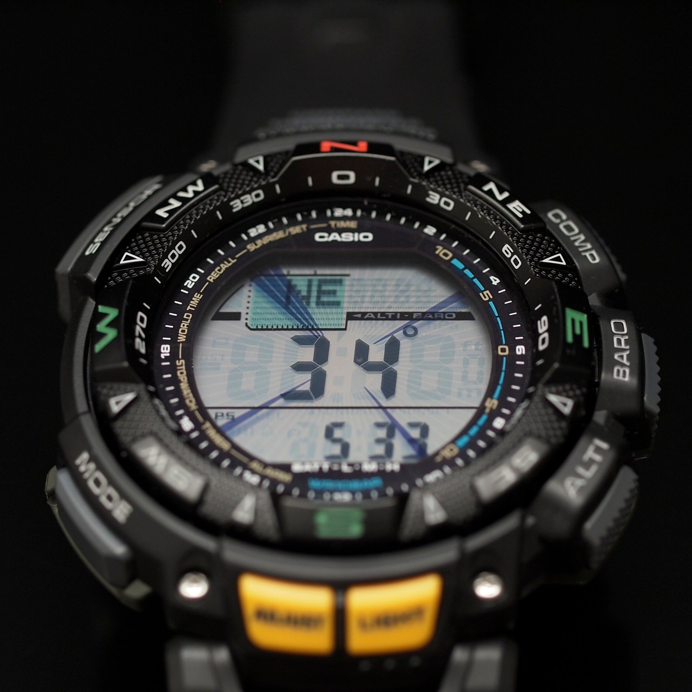 Casio Pathfinder Triple Sensor Multi-Function Sport PAG240-1CR dial close-up