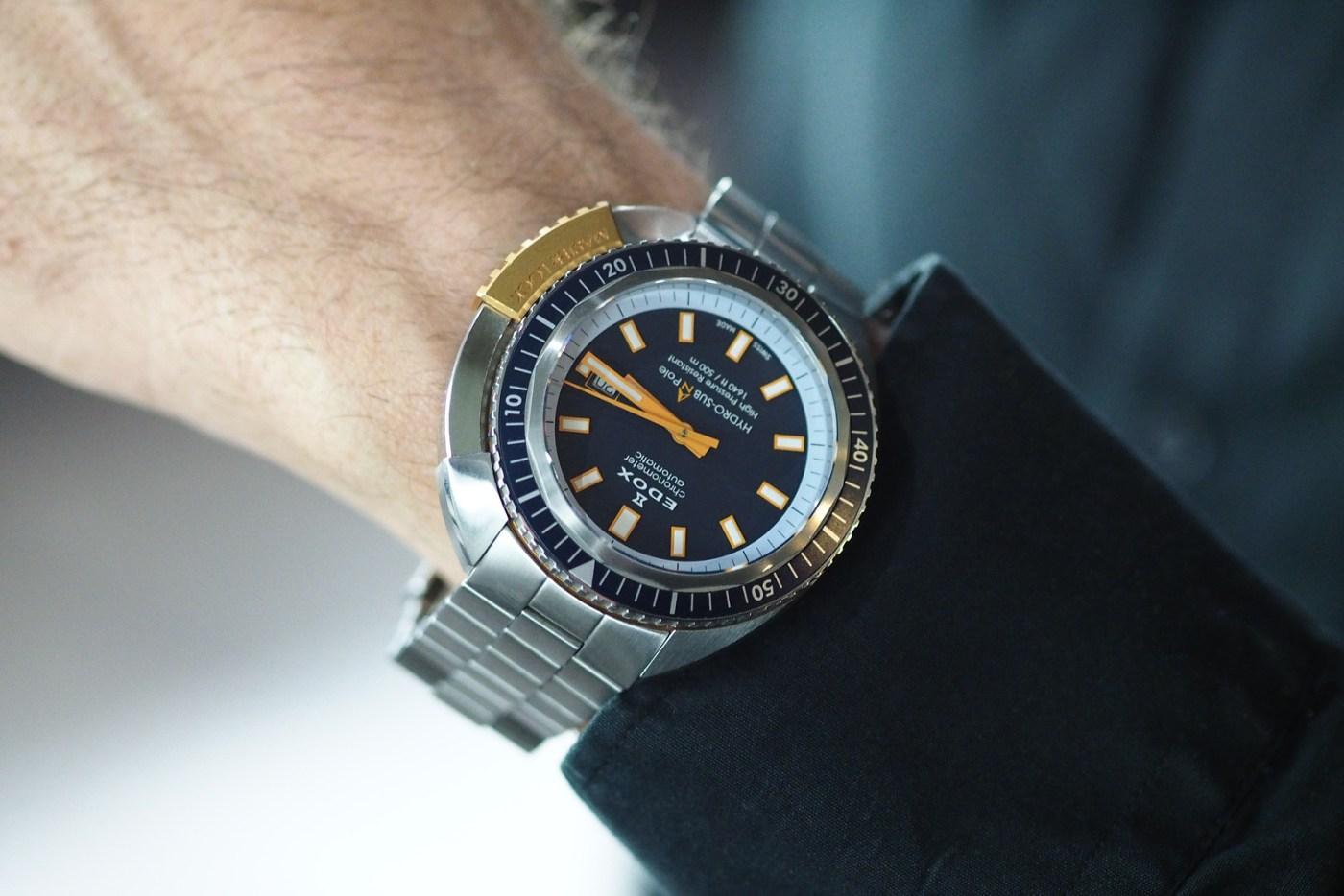 Christian Redl wearing the Edox HydroSub Automatic - $1,795