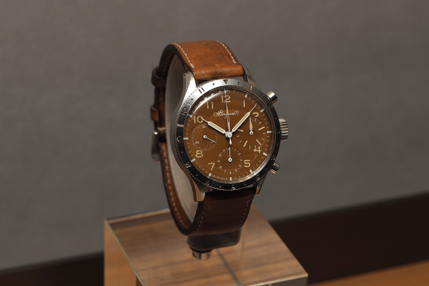"Breguet vintage Type 20 in 38 mm steel case with heavily patinated ""tropical"" dial"