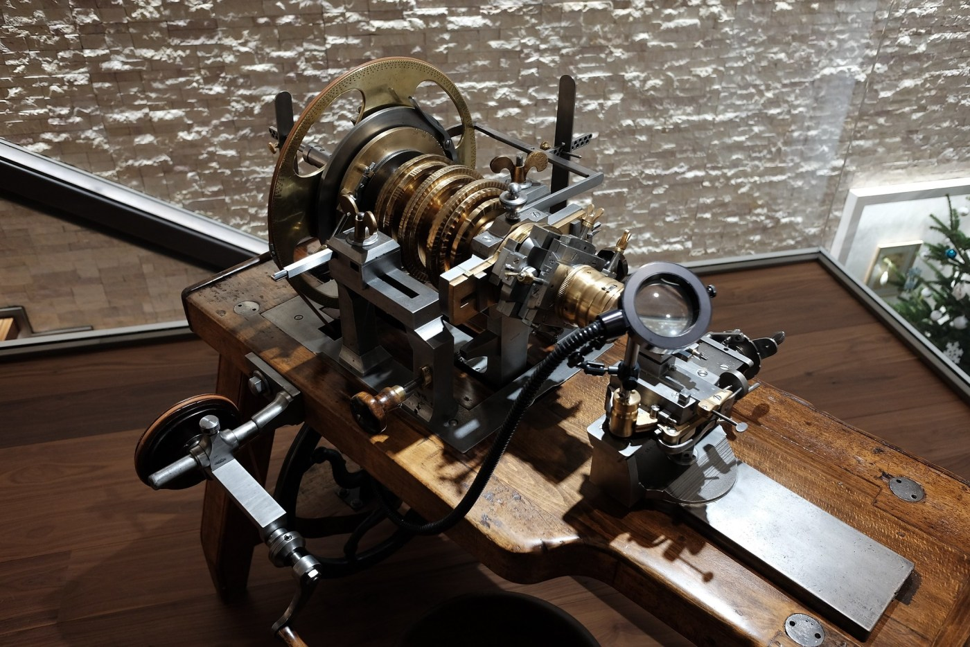 Vintage rose engine lathe used to perform guilloche-work on dials, cases, and other watch components