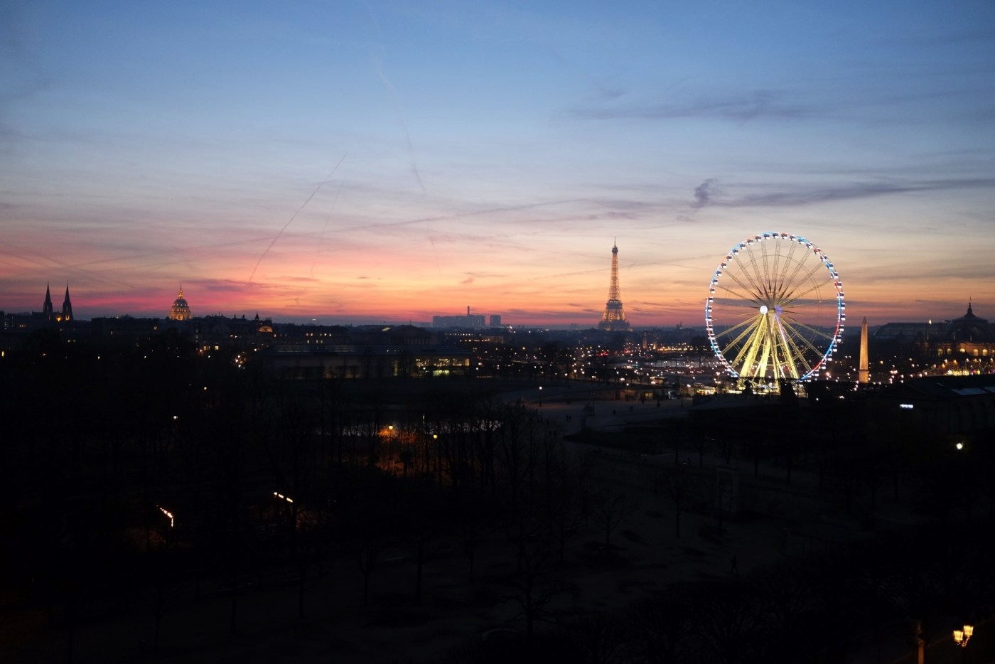 View of Eiffel Tower at sunset