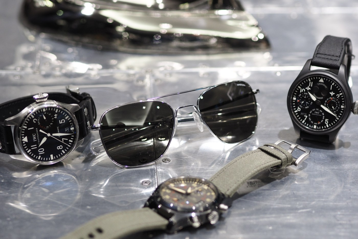 Randolph Aviation HGU-4-P sunglasses and IWC-Pilot watches