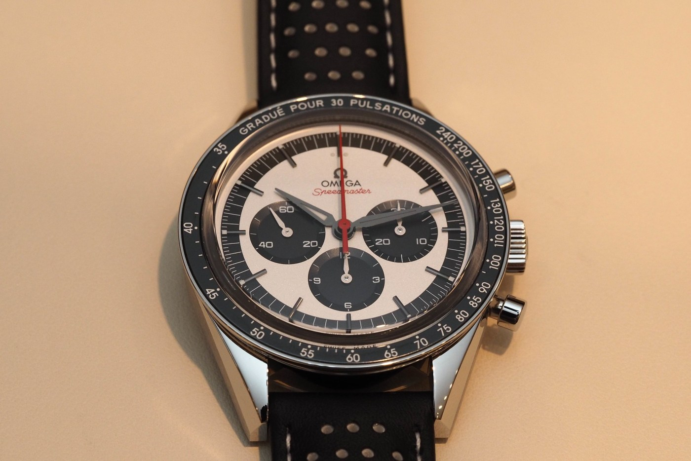 Omega Speedmaster CK2998 Limited Edition Panda dial top angle