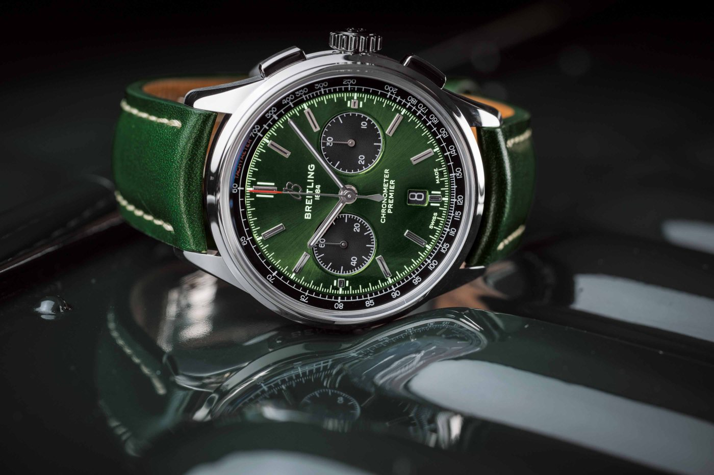 Breitling Premier B01 Chronograph 42 Bentley British Racing Green with a British racing green leather strap