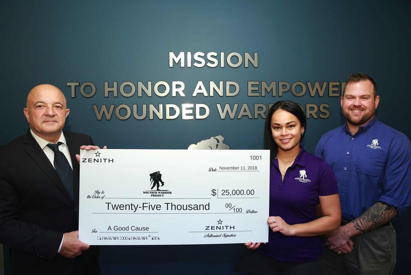 Zenith timepieces writes check to Wounded Warriors Project November 2018
