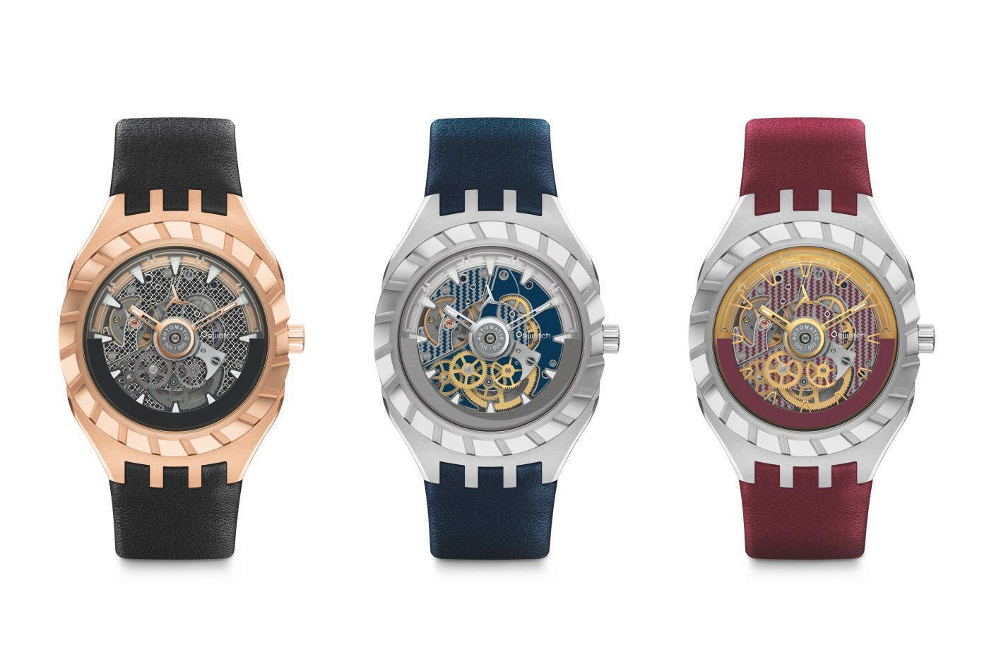 Three versions of the Swatch Flymagic