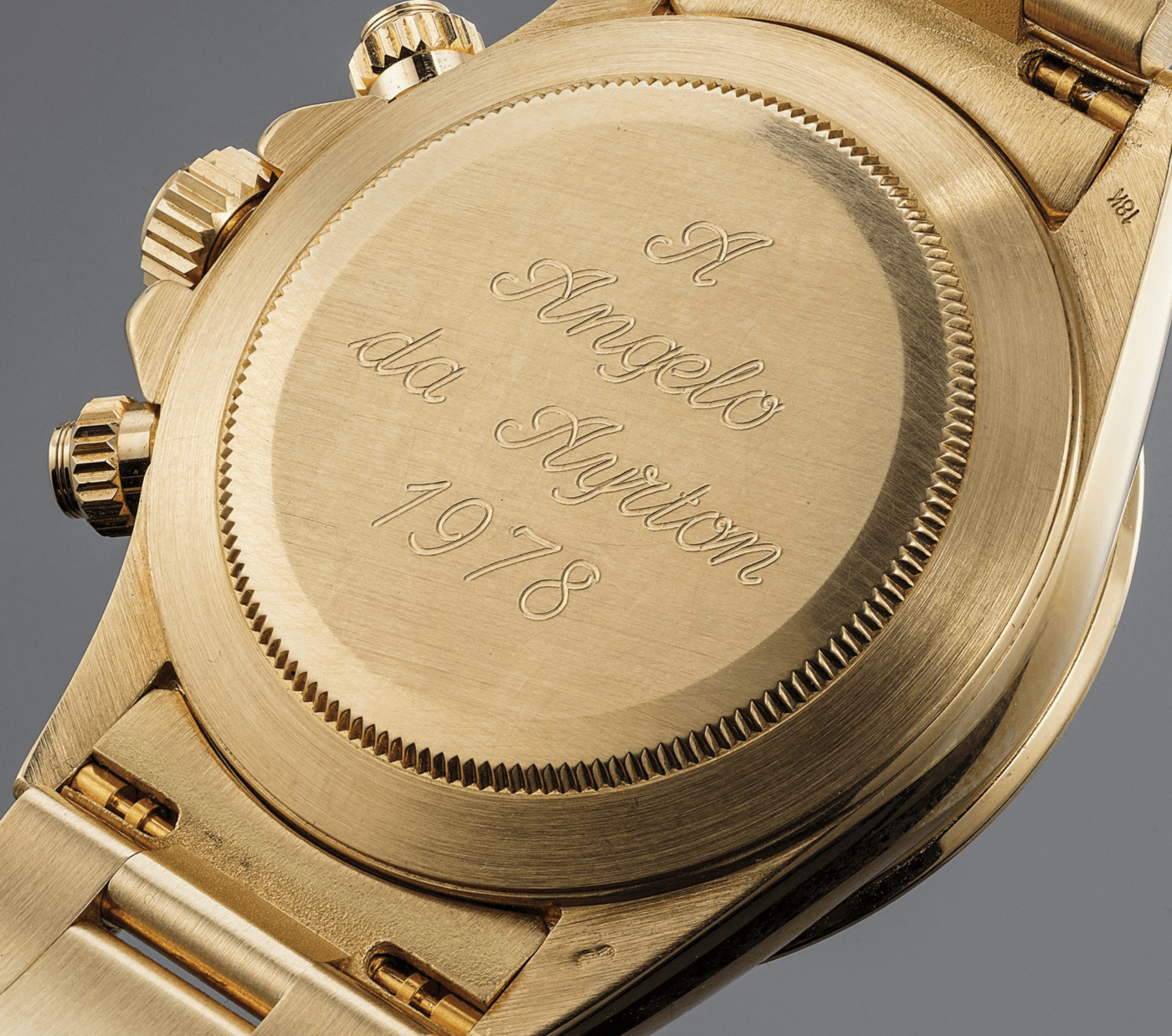 "Rolex Daytona Ref. 16528 engraved with ""to Angelo from Ayrton"""
