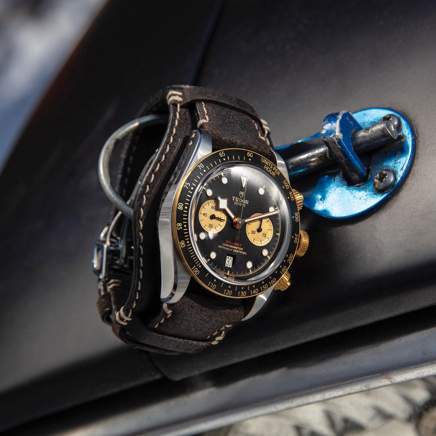 Two-Tone Tudor Black Bay Chrono on brown leather bund strap