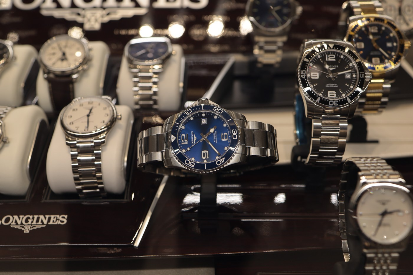 Longines display case Watches of Switzerland Hudson Yards 2019