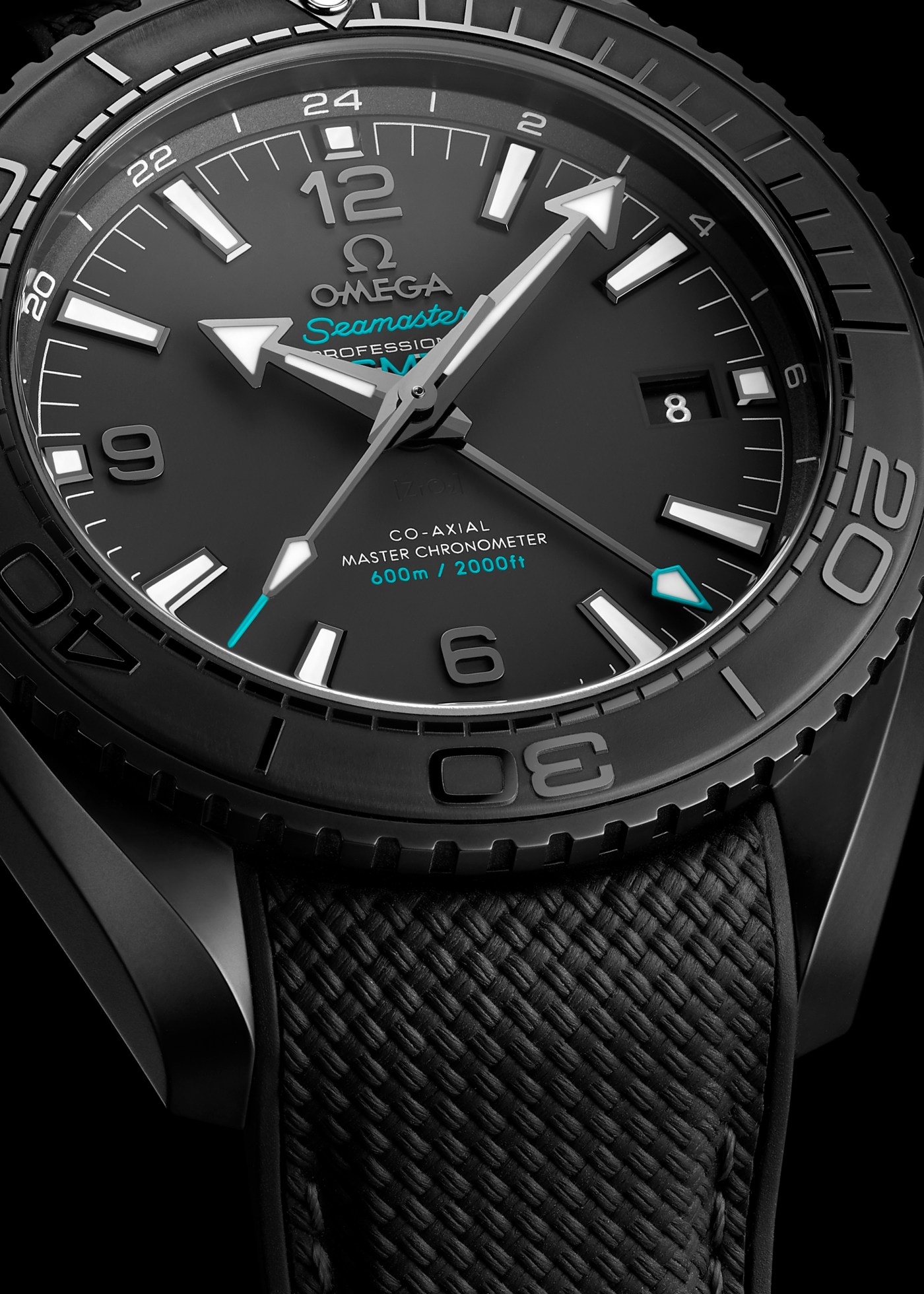 Seamaster Planet Ocean Deep Black Casamigos close-up