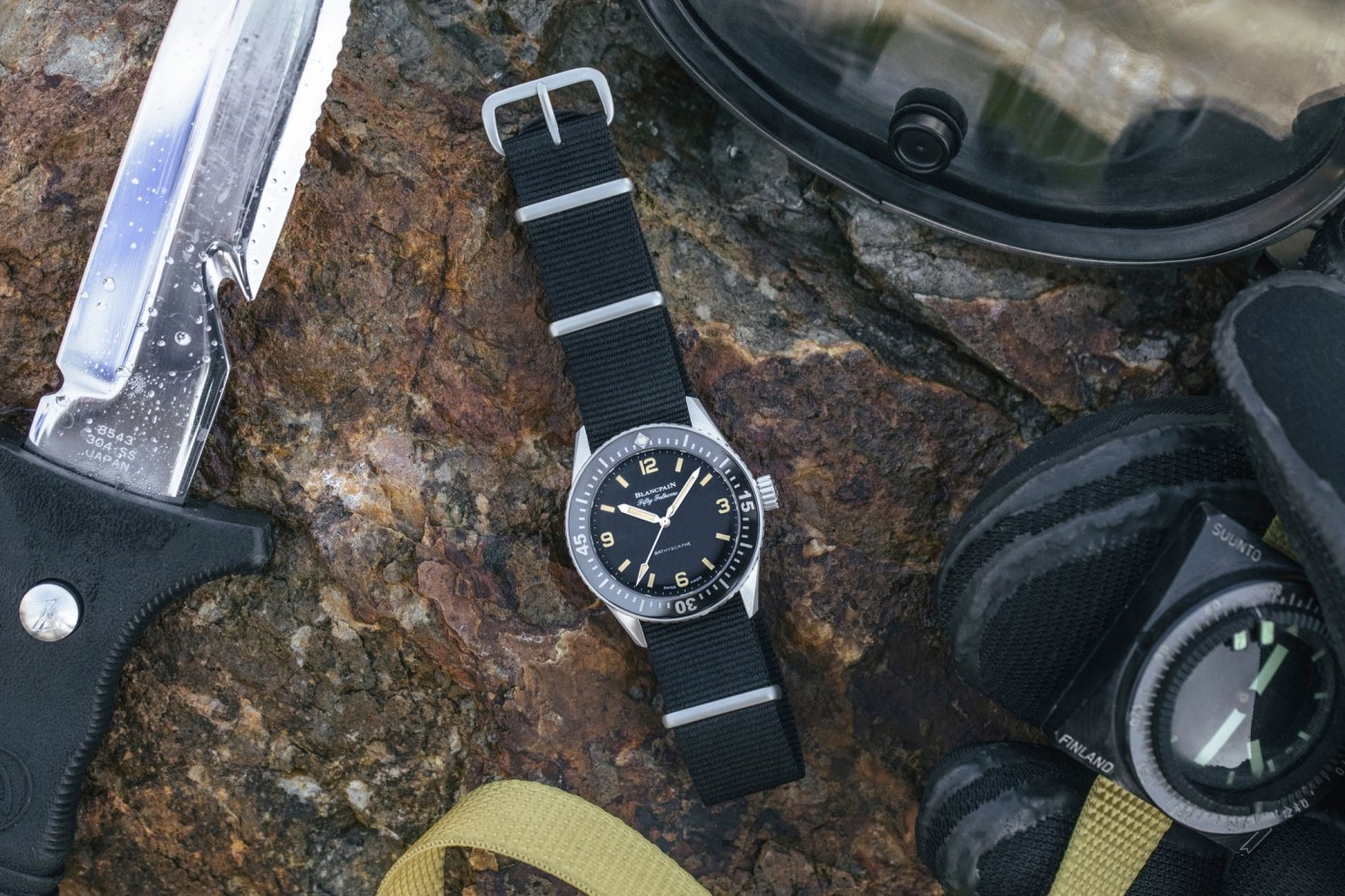 Hodinkee x Blancpain diving lifestyle shot