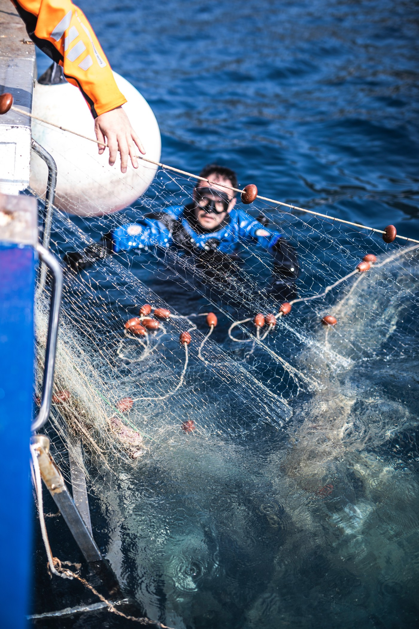 Healthy seas divers pulling out a so called nylon 6 fishing net used to produce Econyl yarn from the Adriatic sea in Croatia