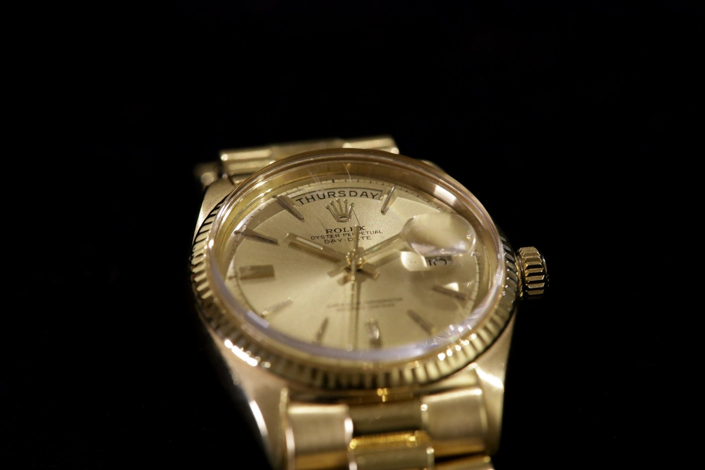 Jack Nicklaus 1967 Yellow Gold Rolex Day-Date Ref. 1803 crystal