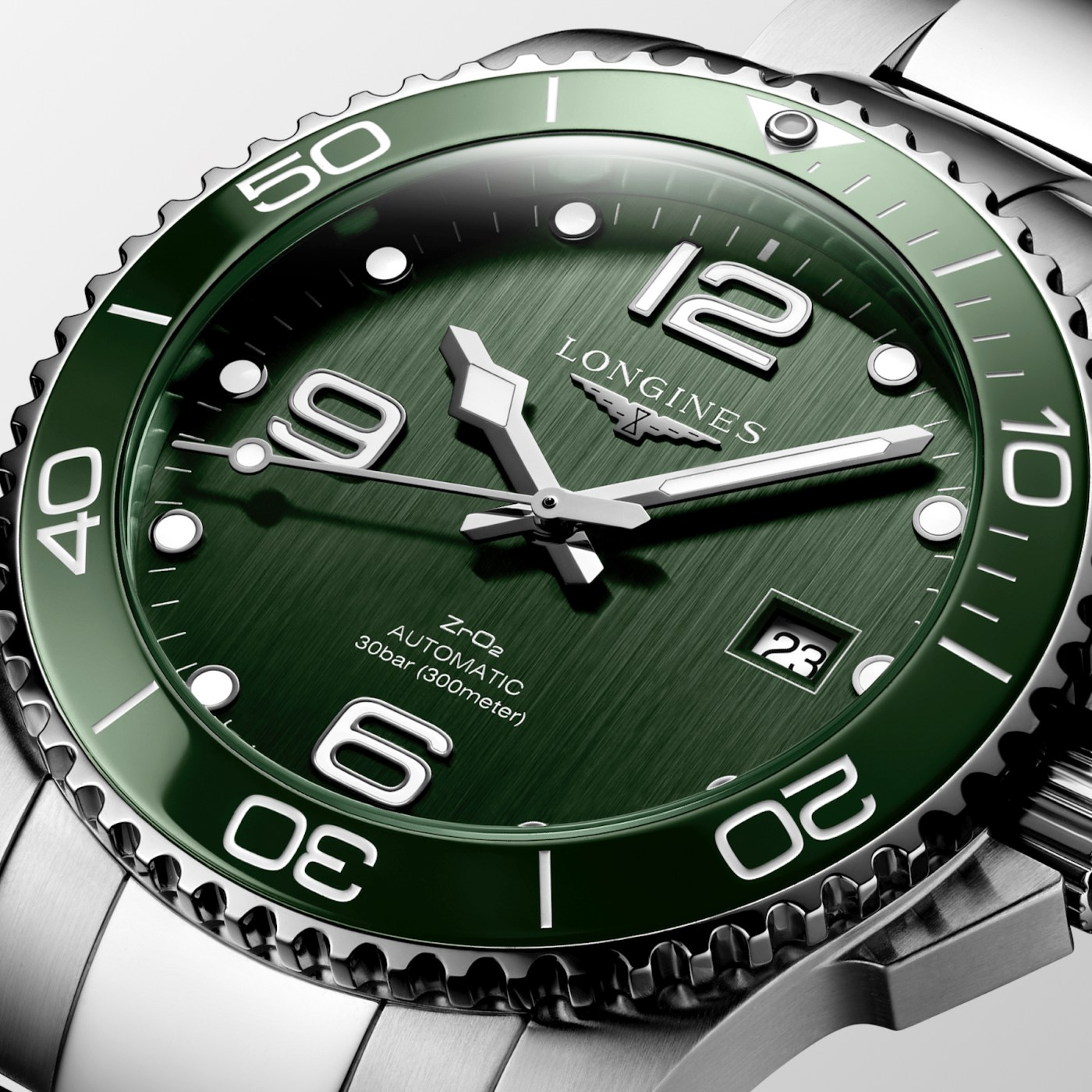 Longines HydroConquest Bright Green Ceramic dial close-up