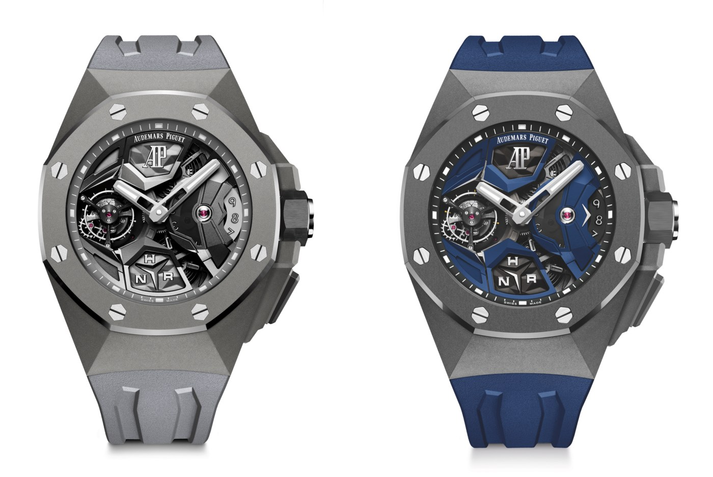 2020 Audemars Piguet Royal Oak Concept Flying Tourbillon GMT blue vs gray