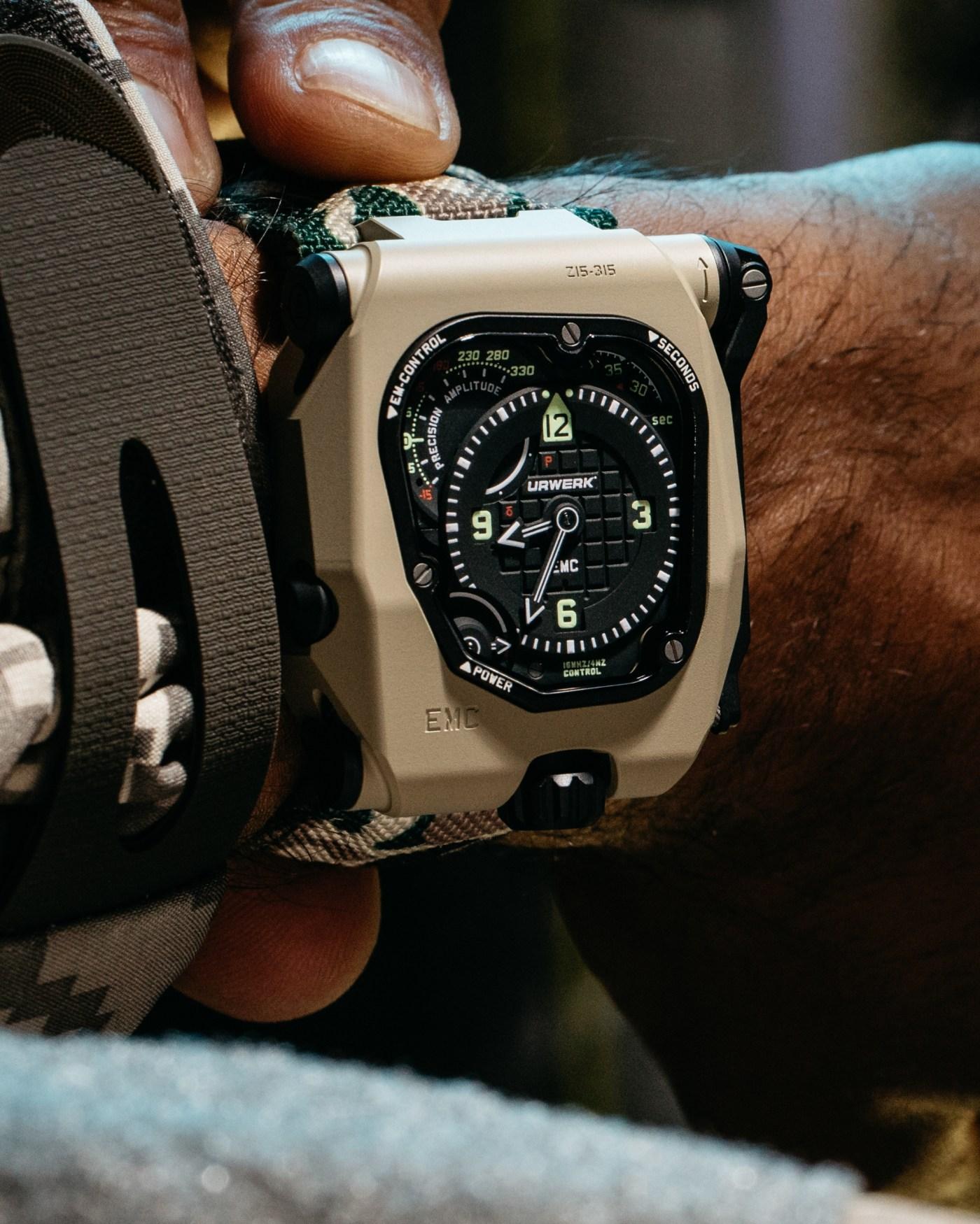 Urwerk EMC Time Hunter Desert Sage wristshot