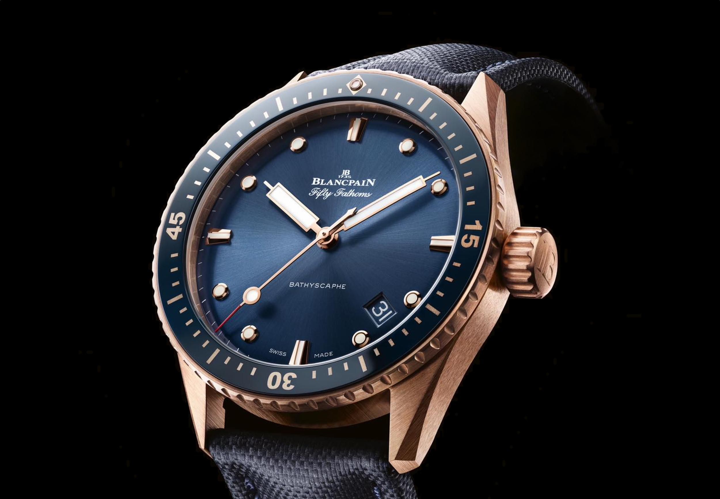Blancpain Blue Fifty Fathoms Bathyscaphe in Sedna Gold