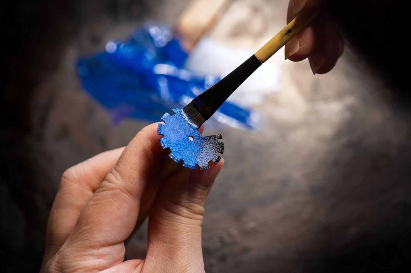 Minase Divido Deep Blue Urushi Silver Maki-e