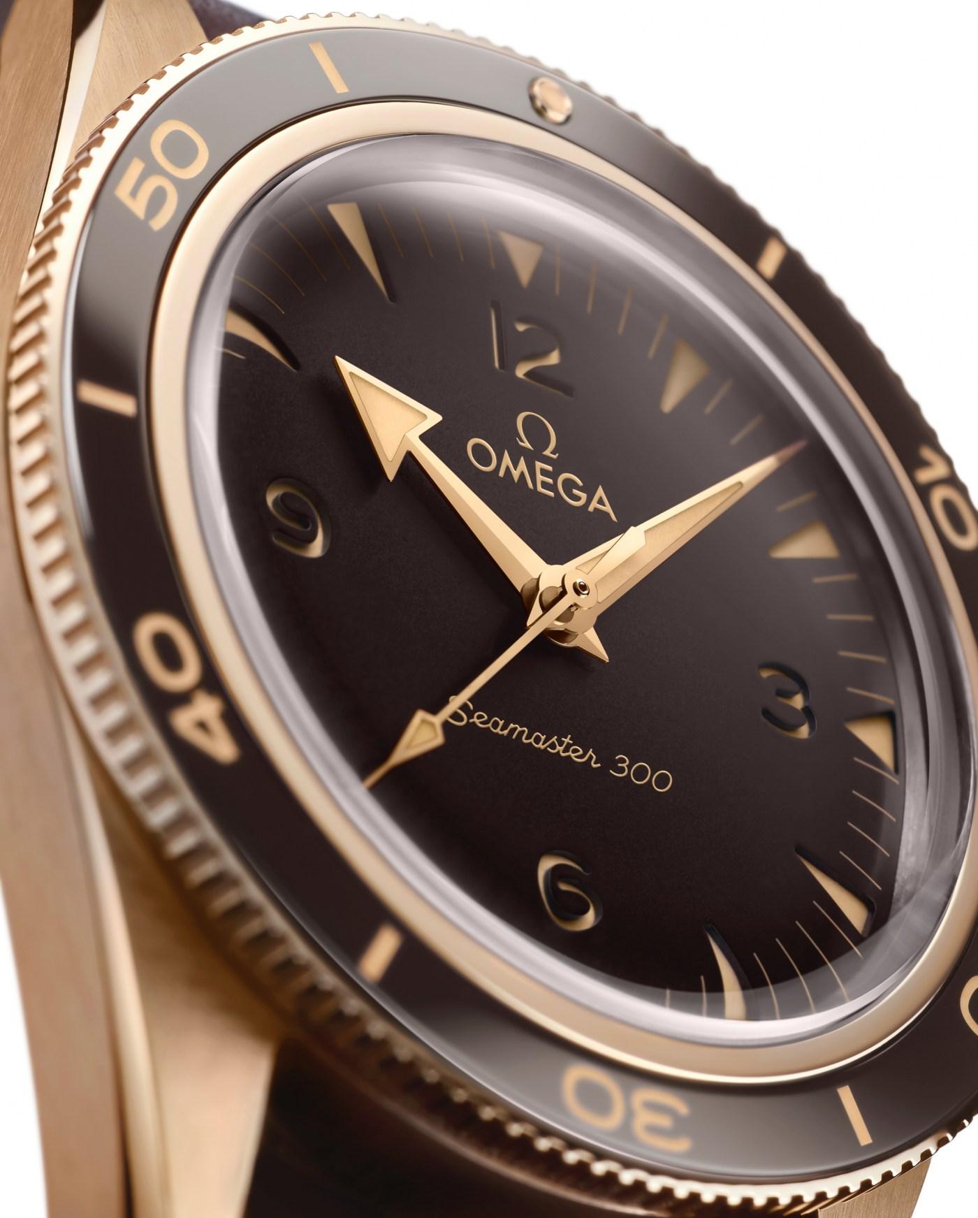 2021 Omega Seamaster 300 bronze gold dial close up