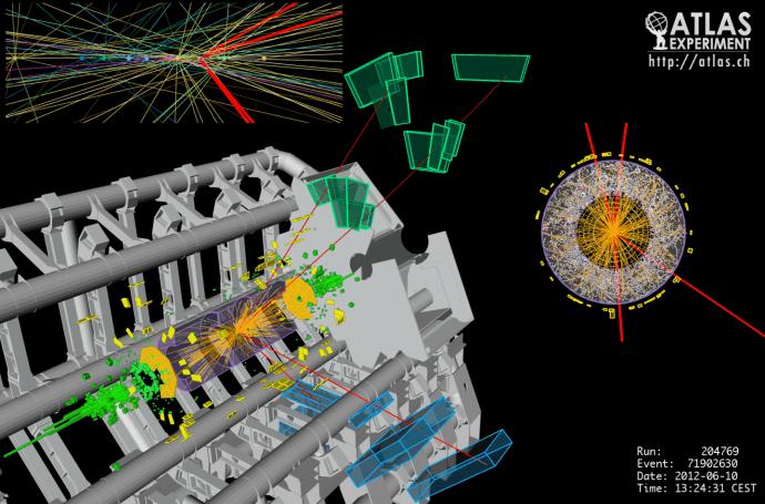 En illustration av en händelse i ATLAS-detektorn som inträffade i juni 2012