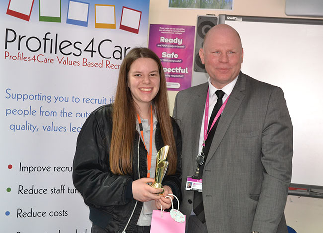 Molly Pickels, College of West Anglia and Principal Mike Hopkins Photograph