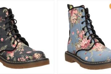 Vysoké šněrovací boty CCC s retro květinami připomínají klasické Martensky. Oblíbíte si je!(Cena: 899 Kč)