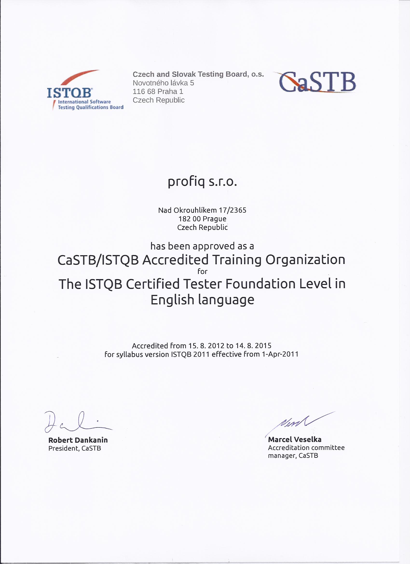 Profiq becomes an istqb accredited training provider profiq with the granted accreditation we are ready to provide training that leads to the istqb certified tester foundation level certificate a professional 1betcityfo Image collections