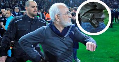 Greek match stopped as PAOK owner enters pitch armed with a gun in protest over disallowed goal