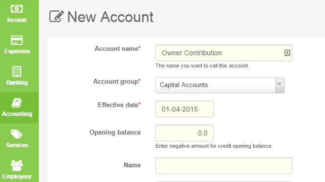 Create Capital Account