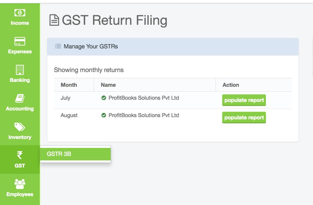 GSTR-3B Format in ProfitBooks