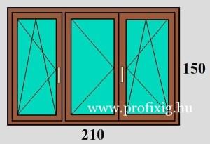 210x150 háromszárnyú bukó-nyíló ablak