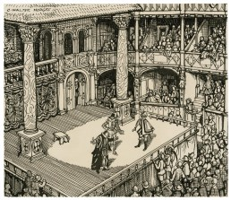 An imagined reconstruction of Shakespeare's Merchant of Venice, act 1, scene 3, being performed in an Elizabethan theatre.