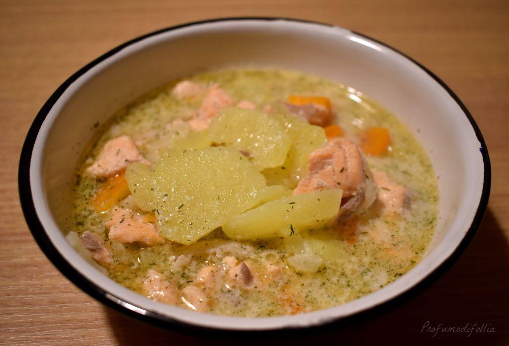 Ricetta della zuppa di salmone finlandese senza panna: risultato