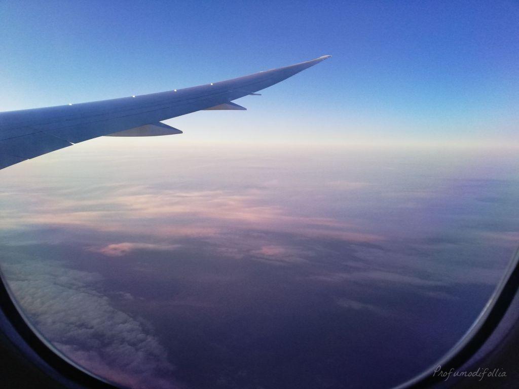 Volare con Air France: foto dell'ala dell'aereo dal finestrino, in volo