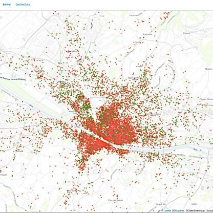 Mappa delle locazioni turistiche a Firenze secondo Insideairbnb