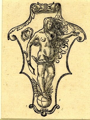 Printer's mark of Andreas Cratander; a shield with Occasio, standing on a globe; first used in Joannes Oeclampadius, In Iesaiam Prophetam Hypomnematon ..., Basel, A. Cratander, 1525 (4°); taken from an unidentified edition. 1525 Metalcut