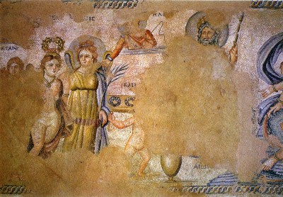 Cassiopeia at the judgement of Aion. The house of Aion. -Middle of the 4th century CE. Cyprus.Paphos, Archaeological Park.