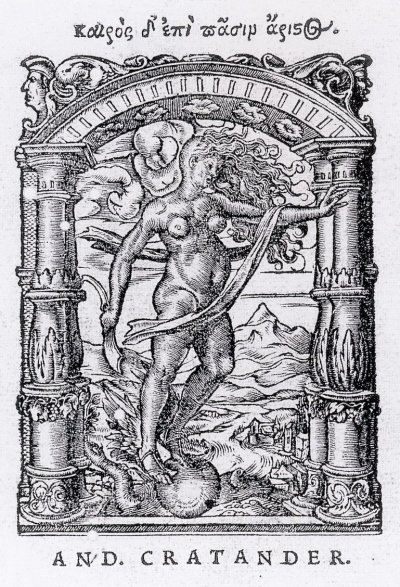 Printer's Device for Andreas Cratander. Metalcut, 7.8 × 60 cm 13.5 × 10.1 cm, Kunstmuseum Basel. The Roman goddess portrayed is Occasio, like Kairos,